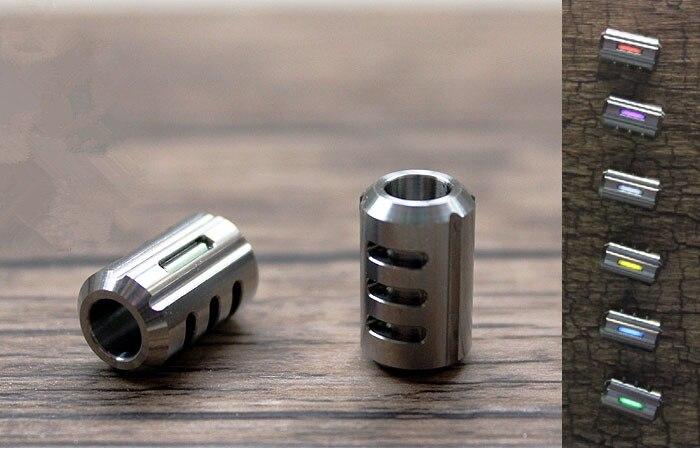 Titanium Alloy Knife Beads Paracord Can Fits 2pcs Tritium Gas Tube Umbrella Rope EDC Multi Tools Out