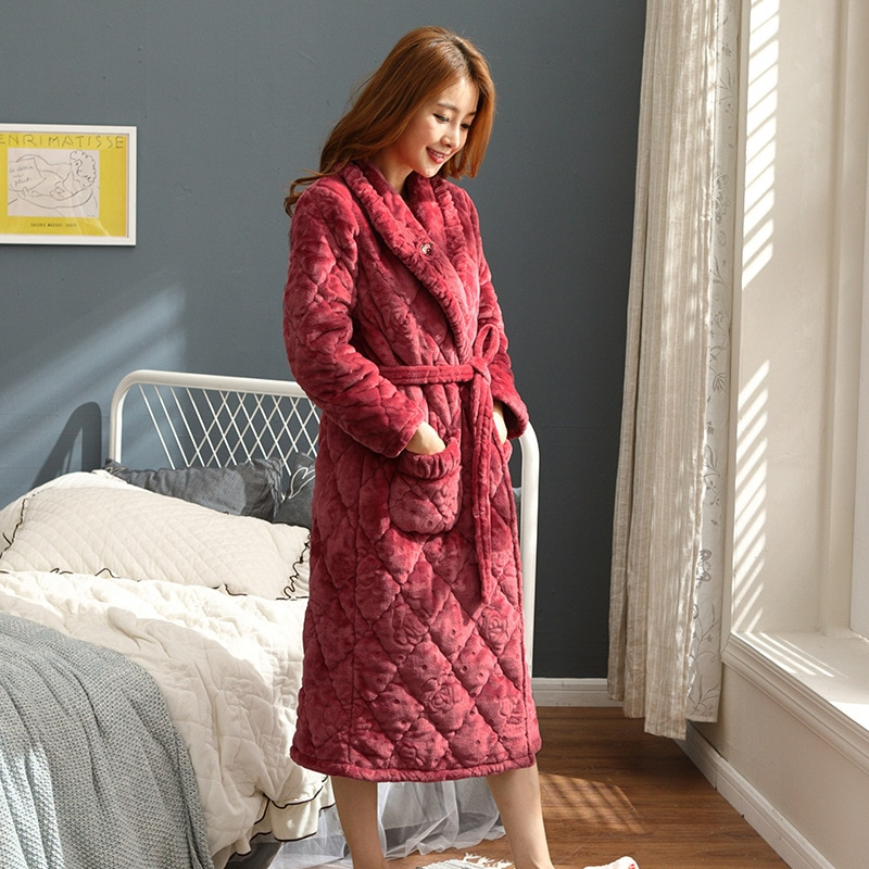 Women's pajamas winter coral velvet quilted three-layer thickened long section warm flannel large size home service nightgown enlarge