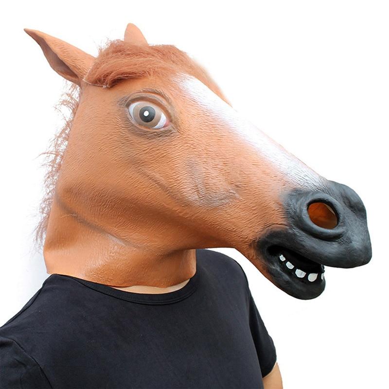 Disfraces de máscara de caballo de cabeza completa de látex Funy Cosplay para fiesta de Halloween de Carnaval divertido disfraz de disfraces