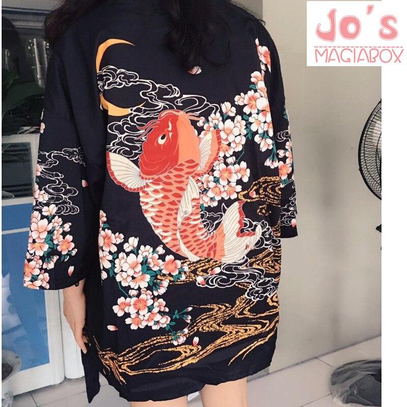 Летнее японское кимоно с рисунком рыбы, женская блузка, рубашка для джиу-джитсу, Харадзюку, кимоно с цветочным рисунком, каваи, длинный, боль...