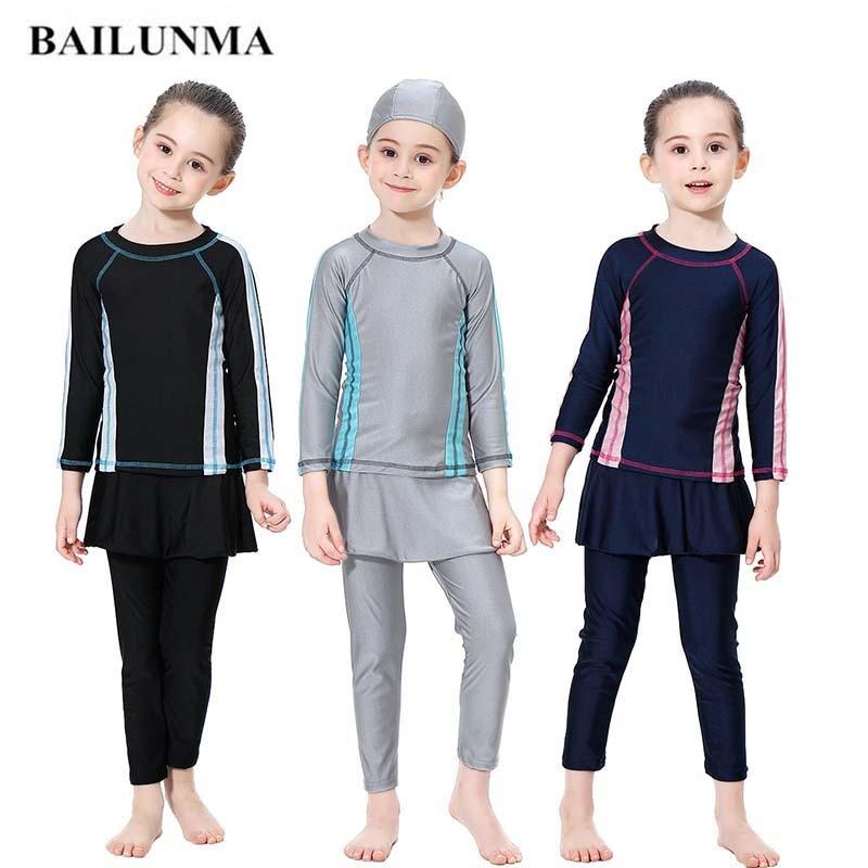 BAILUNMA Girl Hijab Maillot de bain Burkinis Muslim swimwear Modest Swimsuit Long Sleeve Bathing Islamic Muslim Swimwear H1010