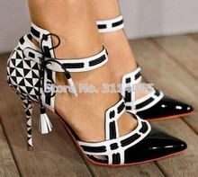Kobiet biały/czarny ze skóry lakierowanej szachy kolor bloku Patchwork pompy buty na obcasie Cut-out Fringe Lace Up sukienka pompy dropship