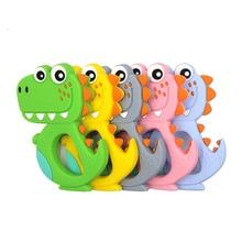 Dessin animé Silicone bébé jouets de dentition sans BPA Animal dinosaure infantile anneau bricolage dentition enfant en bas âge Silicone mâcher charmes enfants jouets de dentition