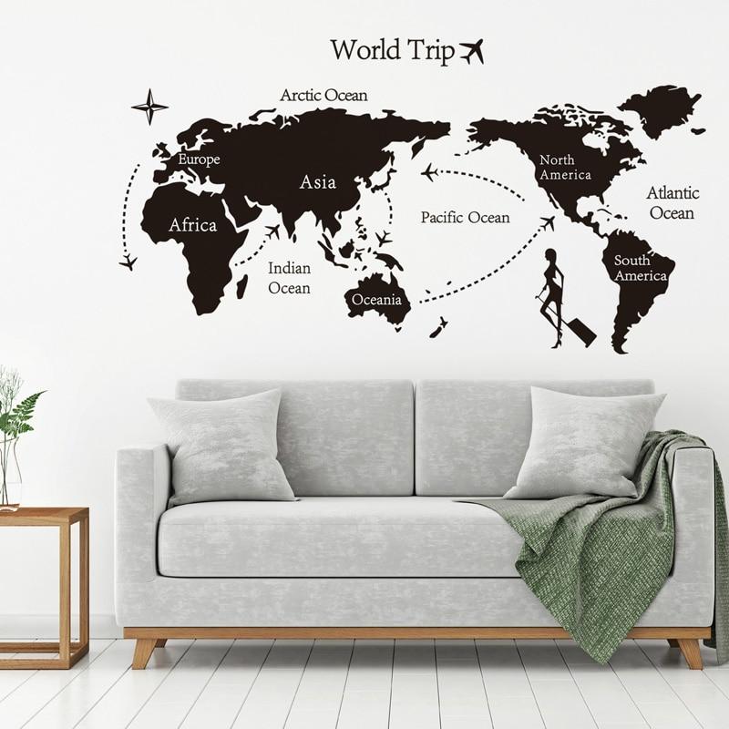 Купить с кэшбэком Black World Trip map Vinyl Wall Stickers for Kids room Home Decor office Art Decals 3D Wallpaper Living room bedroom decoration