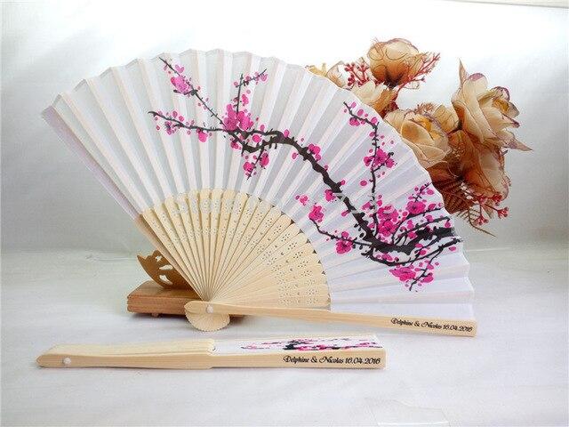 150 Uds abanico personalizado de seda de cerezo en flor regalo de boda abanico plegado manual de flor de ciruelo wintersweet + IMPRESIÓN personalizada