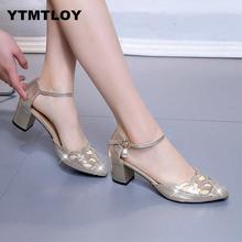 2019 Lady chaussures nouveau creux grossier sandales à talons hauts bouche peu profonde pointu pompes travail femmes femmes Sexy talons hauts Zapatilla