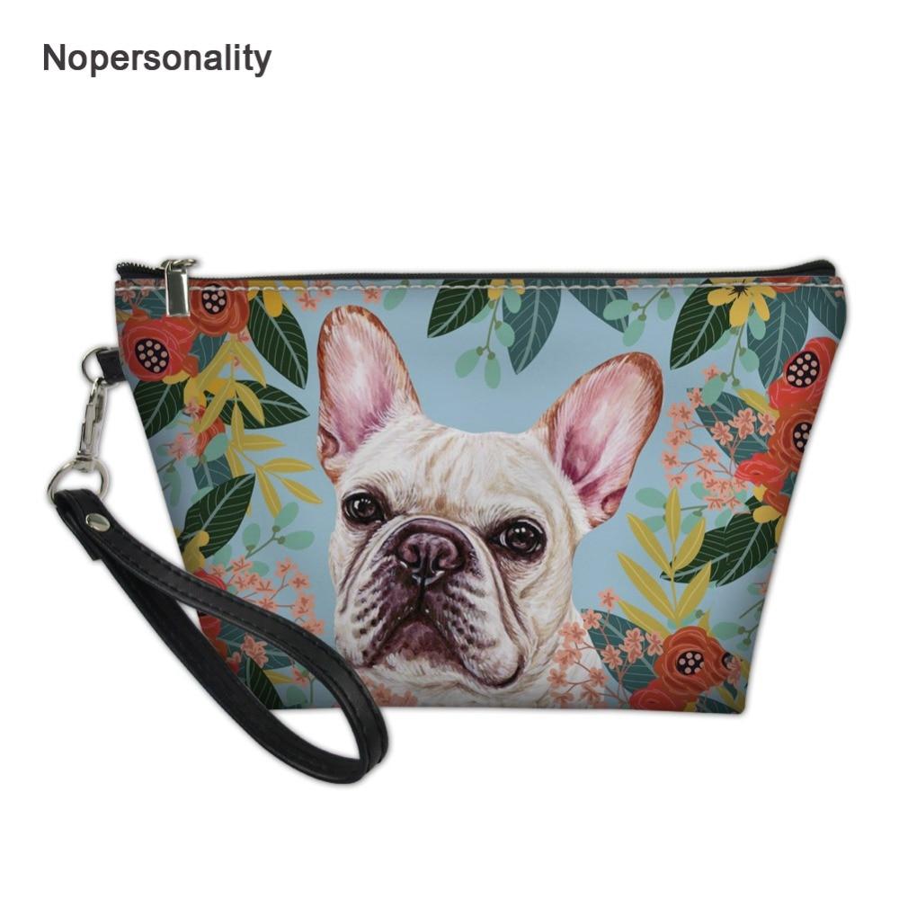 Bolso de maquillaje para Bulldog Francés de Nopersonality Joyful, pequeño estuche de viaje para cosméticos para mujer, bolso de maquillaje portátil para mujer