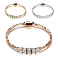 new snake bone chain bracelet cz rhinestone trend fashion magnet buckle cuff bangle bohemian style jewelry gift valentines day