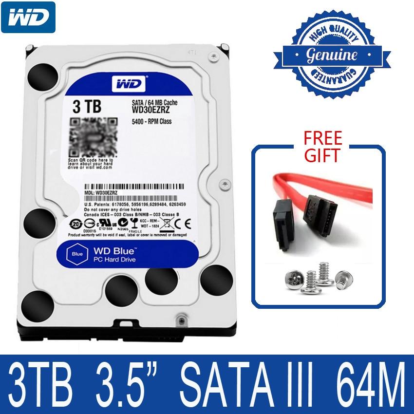 "WD синий 3 ТБ внутренний жесткий диск 3,5 ""5400 об/мин 64M Кэш SATA III 6 ГБ/сек. 3000 ГБ HDD HD Жесткий диск для настольного компьютера WD30EZRZ"
