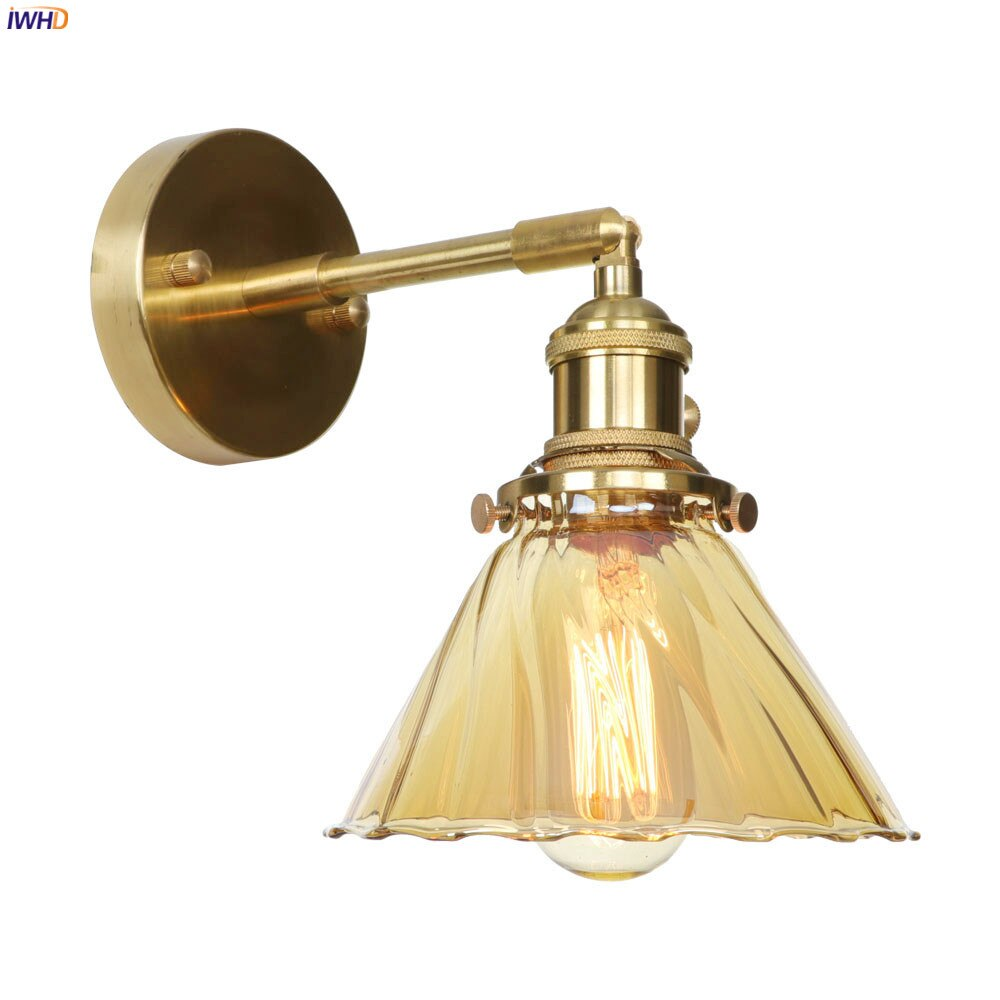 Lámpara LED de pared de vidrio nórdico IWHD, accesorios para dormitorio, baño, espejo, interruptor, lámpara de pared moderna de cobre, lámpara de pared, candelabro Edison