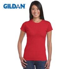 Gildan haute qualité 22 couleur S-XL plaine T-shirt femmes 100% coton élastique basique T-shirts femme décontracté hauts à manches courtes T-shirt