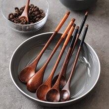 6 pçs longo lidar com colheres de madeira colher de café de chá de madeira estilo japonês colher de sobremesa colher de mistura de mel cozinha utensílios de mesa de madeira