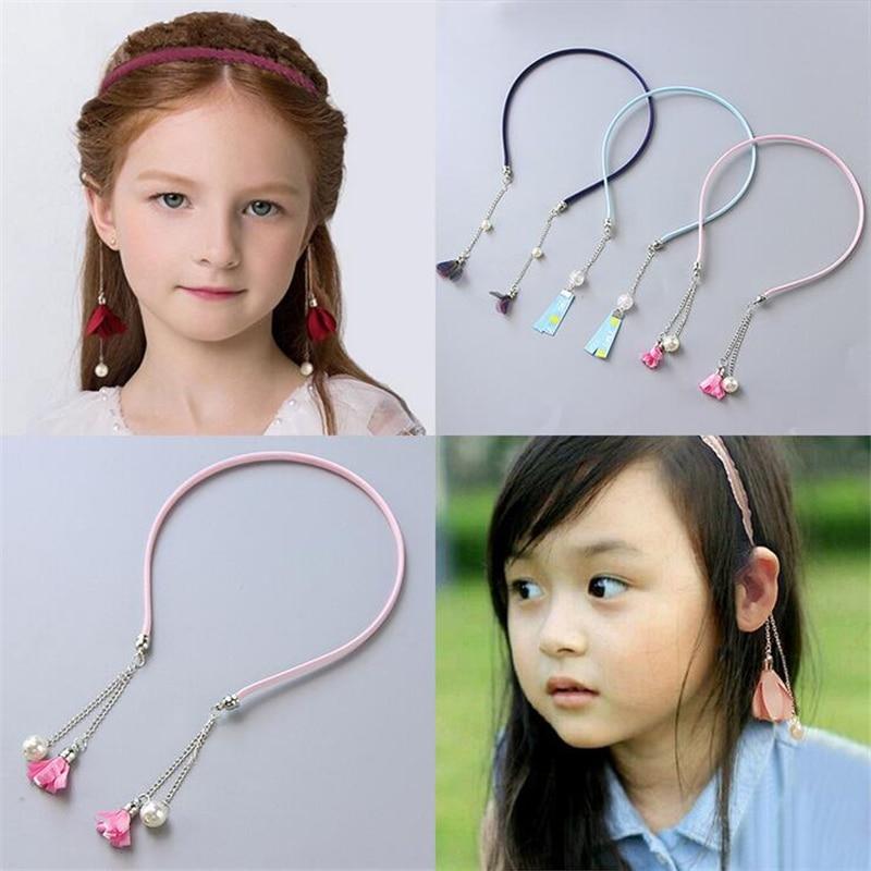 Pendientes falsos para niños, diadema de perlas, Linda Diadema con borlas para mujer, diadema de moda para niñas