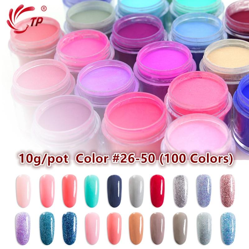 TP 10g 0.35oz Nail Art Dipping Powder #26-#50 Color No Lamp Cure Natural Dry Acrylic System Decoration Manicure Salon Dip Powder