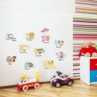 environmental removable cartoon animals wall lovely animals number wall stickers for kids room home decoration decals mural art