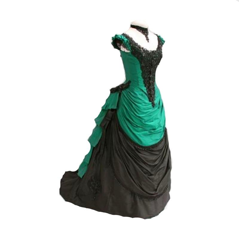 فستان روكوكو من الساتان الأخضر والأسود ، كرة مصقولة ، فستان فيكتوري قوطي