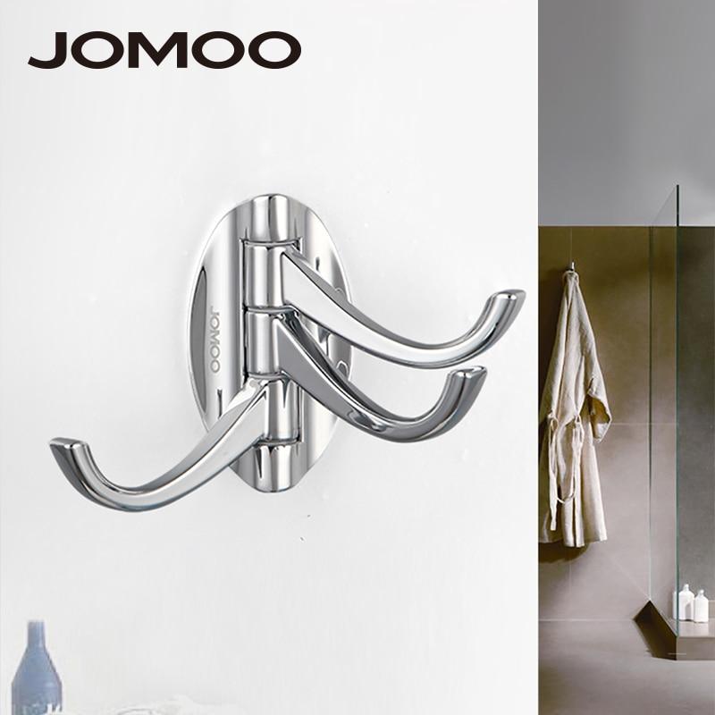 JOMOO Wall Coat Rack Rotatable 3 Robe Hook for clothes Bathroom or kitchen Zinc Alloy Towel Hooks hangers Bathroom Accessories