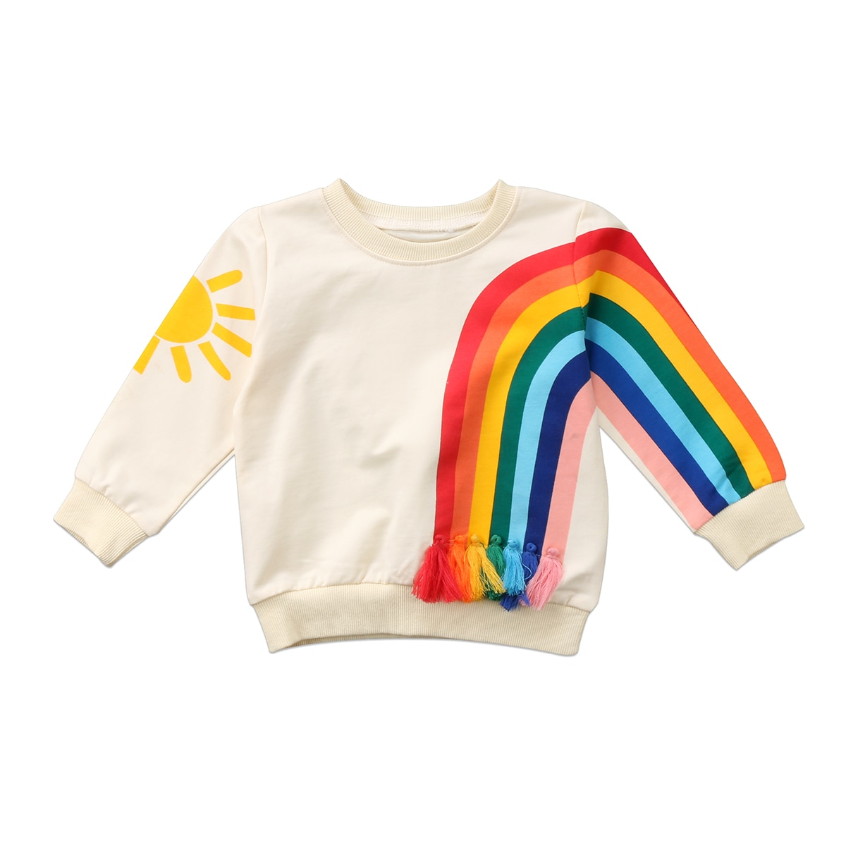 Nuevo Bebé niños niñas Arco Iris camiseta ropa de manga larga o-Cuello camisetas para bebé niño niña