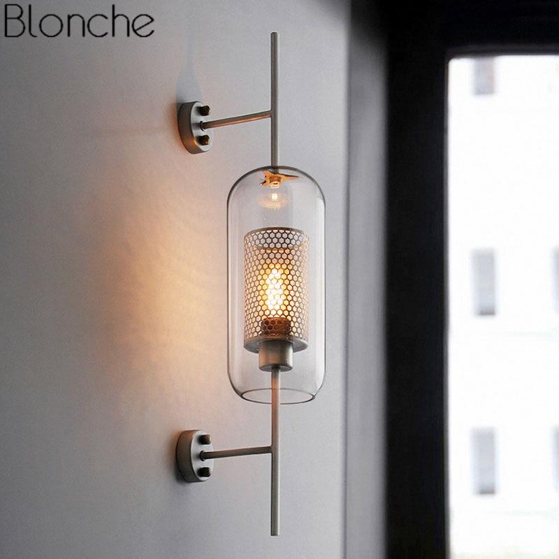 عاكس الضوء الزجاجي الحديث ، مصباح الجدار الحديدي الشفاف ، مصباح الجدار ، لغرفة النوم ، المكتب ، الشبكة