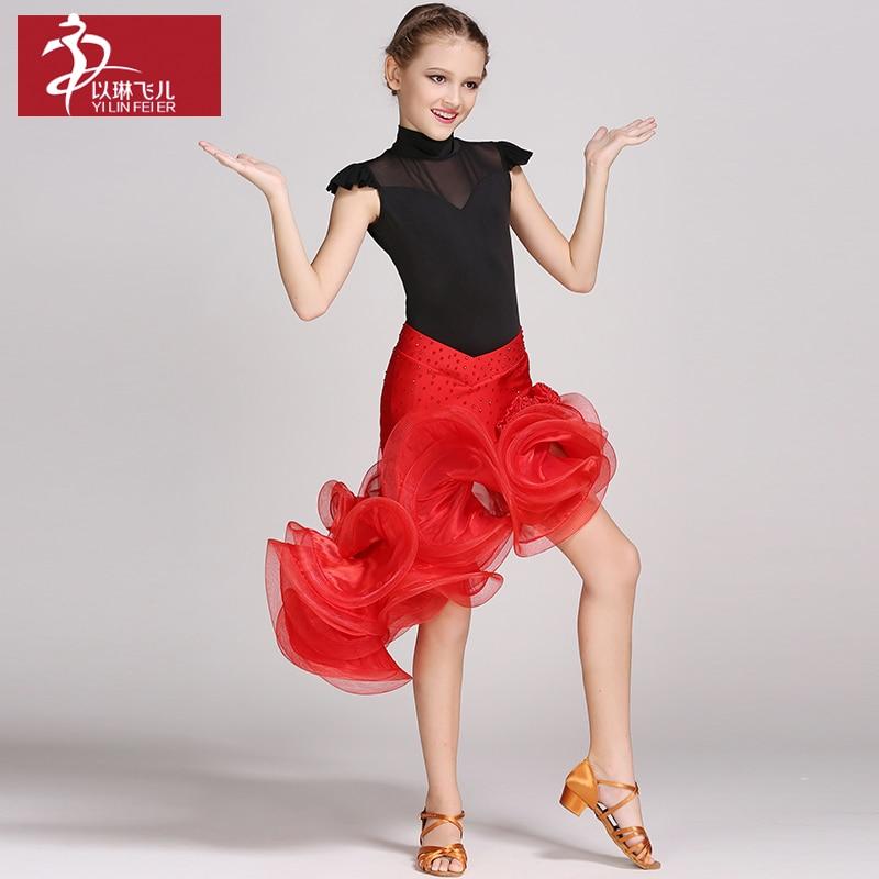 عالية الجودة اللاتينية اللباس الفتيات حار الصلصا اللباس الأطفال قاعة الرقص المنافسة اللباس القطب الرقص زي الاطفال B-6488