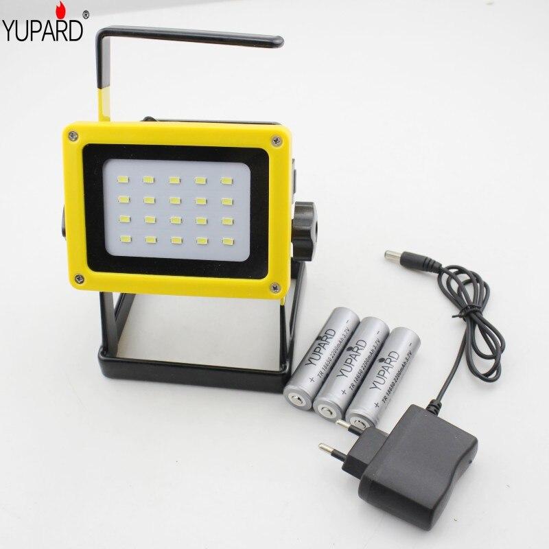 YUPARD reflector de luz de inundación 20 * SMD LED reflector linterna para acampar al aire libre + cargador directo + 3*18650 batería recargable