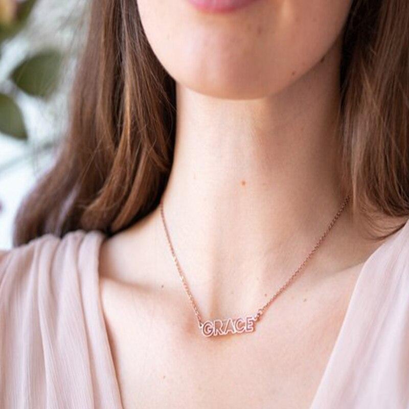 Популярное женское ожерелье на заказ, ожерелье с именем на заказ, золотое ожерелье с надписью, мужское украшение из нержавеющей стали
