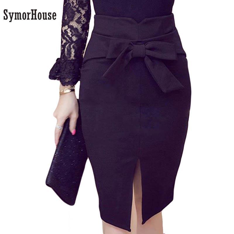 Falda de las mujeres falda de talla grande primavera nueva moda de rodilla-longitud alta cintura lazo Casual falda elegante falda hendidura abierta Oficina falda