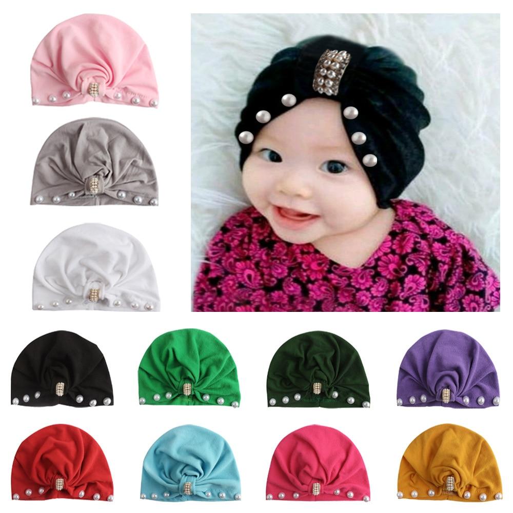New Infant Newborn Caps With Pearl Rhinestone Cotton Kont Turban Girls Spandx Stretchy Beanie Hat Headwear Baby Hair Accessories