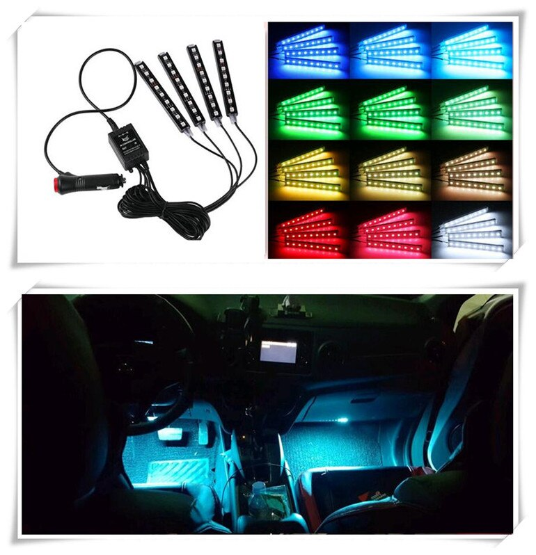 Coche caliente RGB tira de LED de luz lámparas decorativas para lifan x60 chevrolet aveo volvo s80 passat b7 hyundai acento ford focus 3 rav4