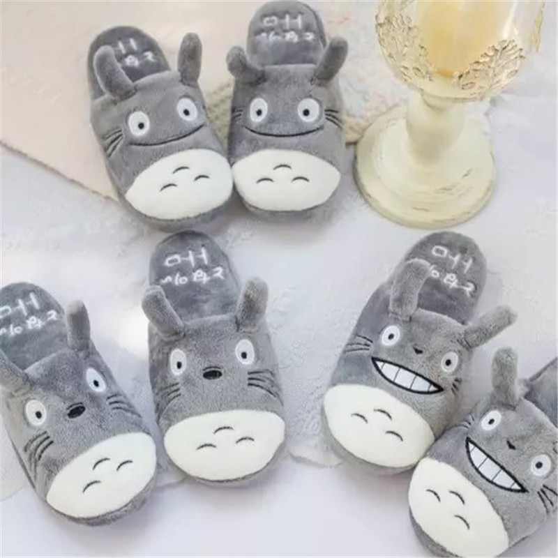 Totoro Cute Cat Cartoon Animal Women/men Couples Home Slipper For Indoor House Bedroom Flats Comfortable Warm Winter Shoes