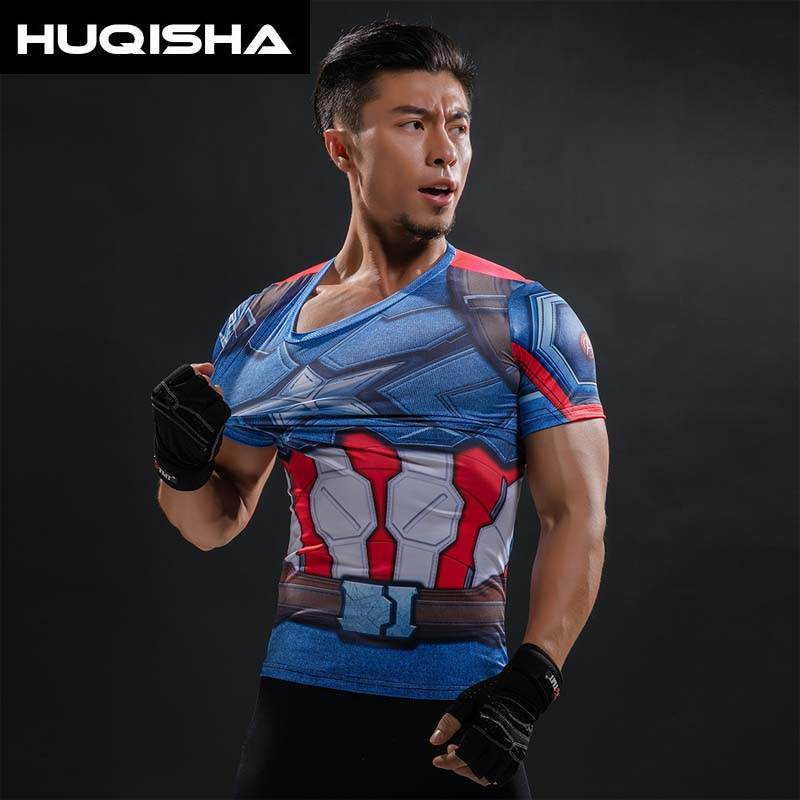 Camiseta impresa 3D Capitán América guerra Civil camisetas hombre Marvel vengadores manga corta ropa de Fitness