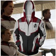 Marvel the superhero 4 endgame quantum realm 코스프레 의상 후드 티 후드 지퍼 엔드 게임 스웨트 자켓