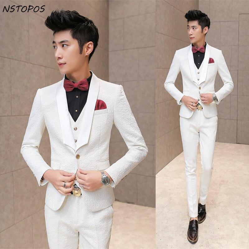 Esmoquin blanco de boda para hombre 2016, trajes Vintage elegantes con estampado de rosas para hombre, traje de novio de graduación entallado, chaqueta + chaleco + pantalón