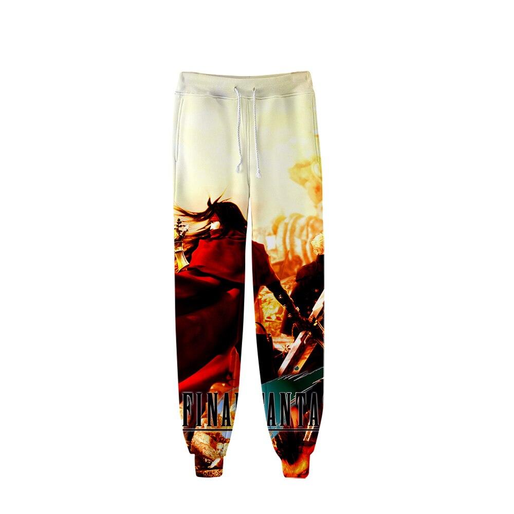 Final fantasia vii sweatpants harajuku 3d japão impressão calças jogger menino/gril calças casuais fino ajuste gótico fitness sweatpants