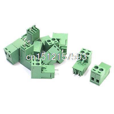 10 Uds 300V 15A de PCB de 5,08mm de montaje de plástico verde Bloque de terminales de tornillo