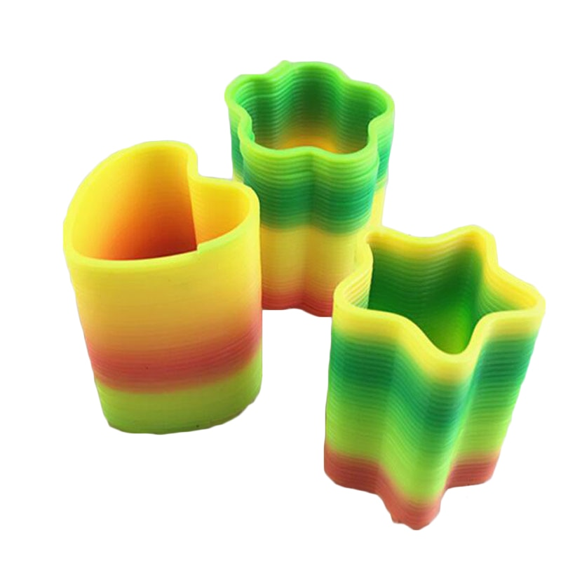 Plastic Hot Sale Magic ring Spring Rainbow Round Irregular Shaped Heart Star Kids Bounce Novelty Toys Christmas Birthday Gifts