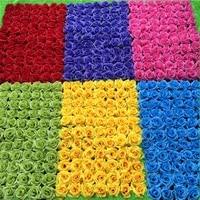 20pcslot solid color wedding flower artificial silk rose flower wall wedding background lawnpillar flower wedding prop