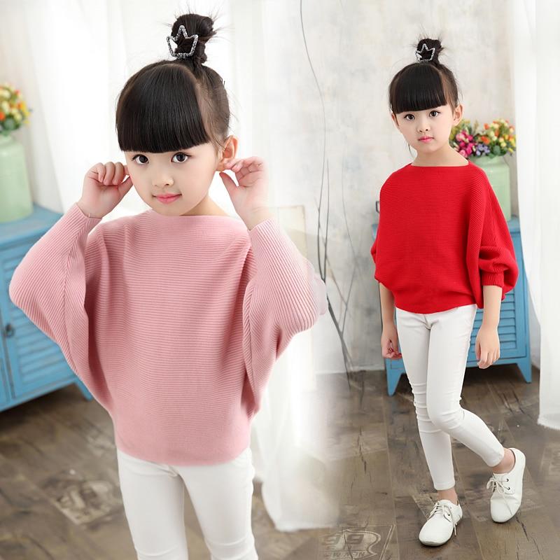 Ropa de primavera y otoño para niños, suéteres tejidos para niñas, suéteres de murciélago sólido delgado para niñas, jerséis grandes para niños, suéter
