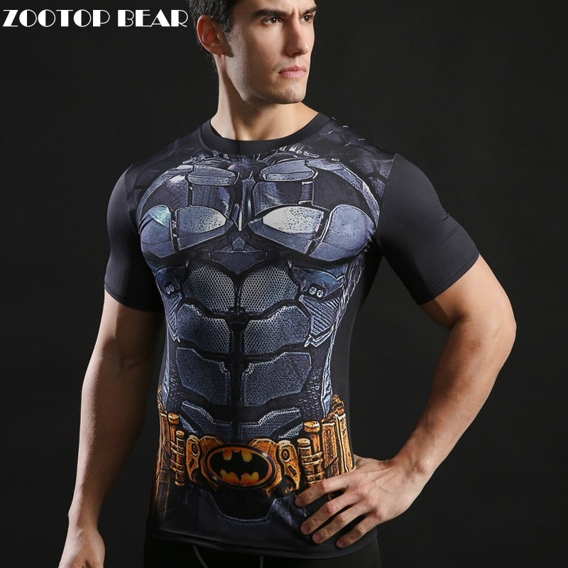 3d super-herói topos batman t camisa dos homens da aptidão t legal engraçado imprimir masculino preto t-shirts alta elástica apertado marca t zootop urso