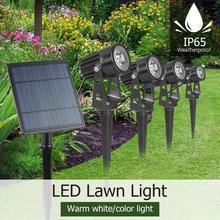 4W Solar Spike Spot Lights Outdoor Garden Gazon Led 4 Pc Spots + 1 Pc Zonnepaneel IP65 Waterdicht lampen Tuin Yard