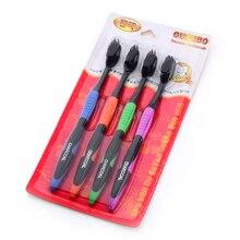 4Pcs/ Set Bamboo Charcoal Toothbrush Oral Dental Care Soft Nano Teeth Brush Set Soft Charcoal Brush Oral Care Toothbrush