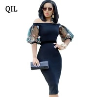 qili women slash neck pencil dress embroidery mesh patchwork half sleeve elegant bodycon dresses lady high streetdress