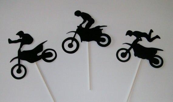 Dirt bike Cupcake Toppers boda cumpleaños baby shower fiesta comida selecciones envío gratis colores personalizados