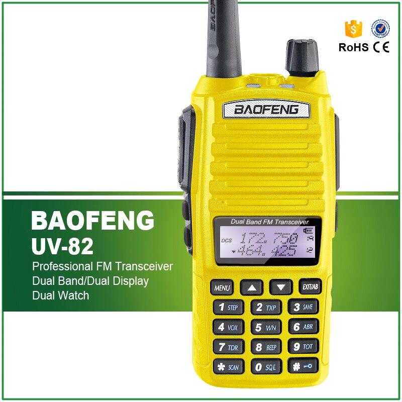 Оригинальная желтая рация, новинка, Двухдиапазонная рация BAOFENG, UHF/UV-82/400-520 МГц, двухсторонняя рация + Двойная гарнитура PTT рация vector vt 44 master