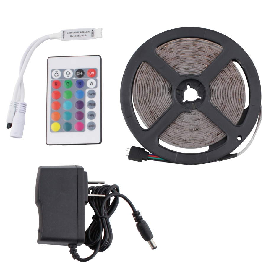 12V LED Strip Set Light RGB 2835 5M Waterproof 12V Neon Light Flexible 12V LED Strip IR Remote Controller Power Adapter full set