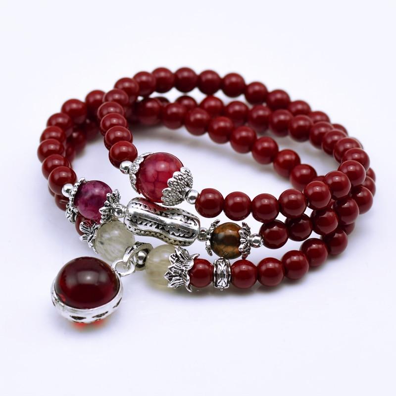 Houbian Natural Fashion 6mm red Stone Beads Tibetan Buddhist Prayer Beads Necklace Gourd mala Prayer Bracelet for Meditation
