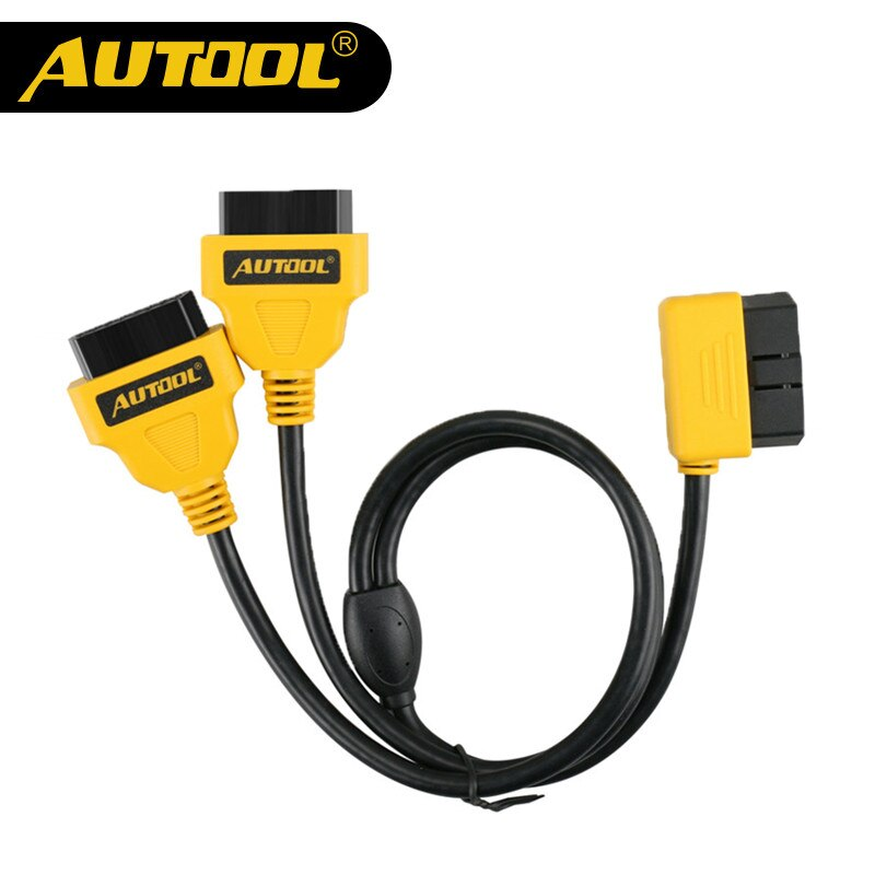 AUTOOL 50cm OBD2 Cable conector Universal coche OBD 2 Adaptador 1 a 2 Cable divisor 16pin OBDII Cable de extensión de macho a hembra