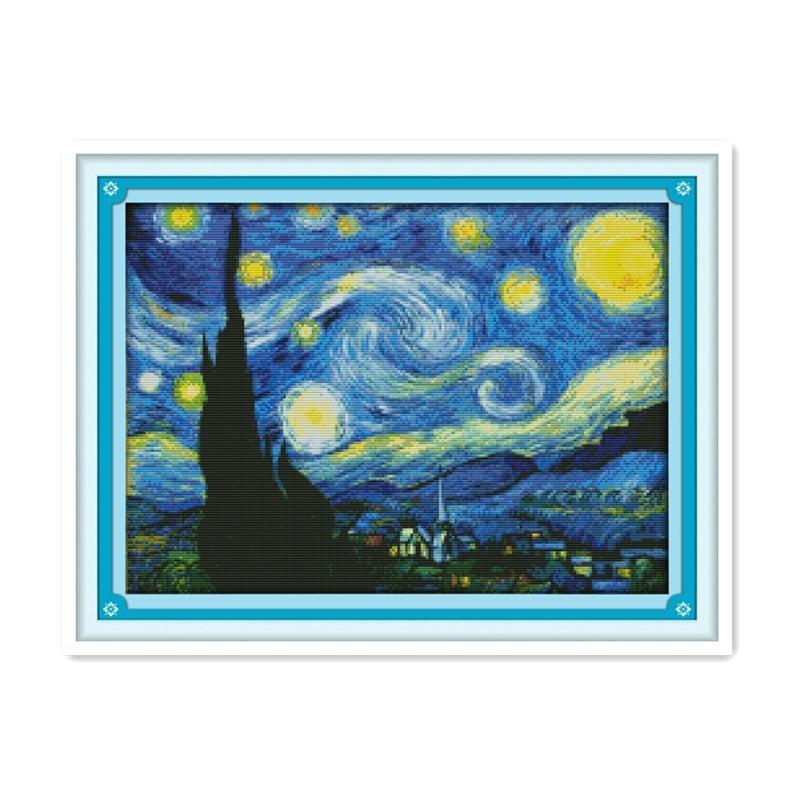 Bordado Completo de Van Gogh, noche, punto de cruz, kits de Pintura...