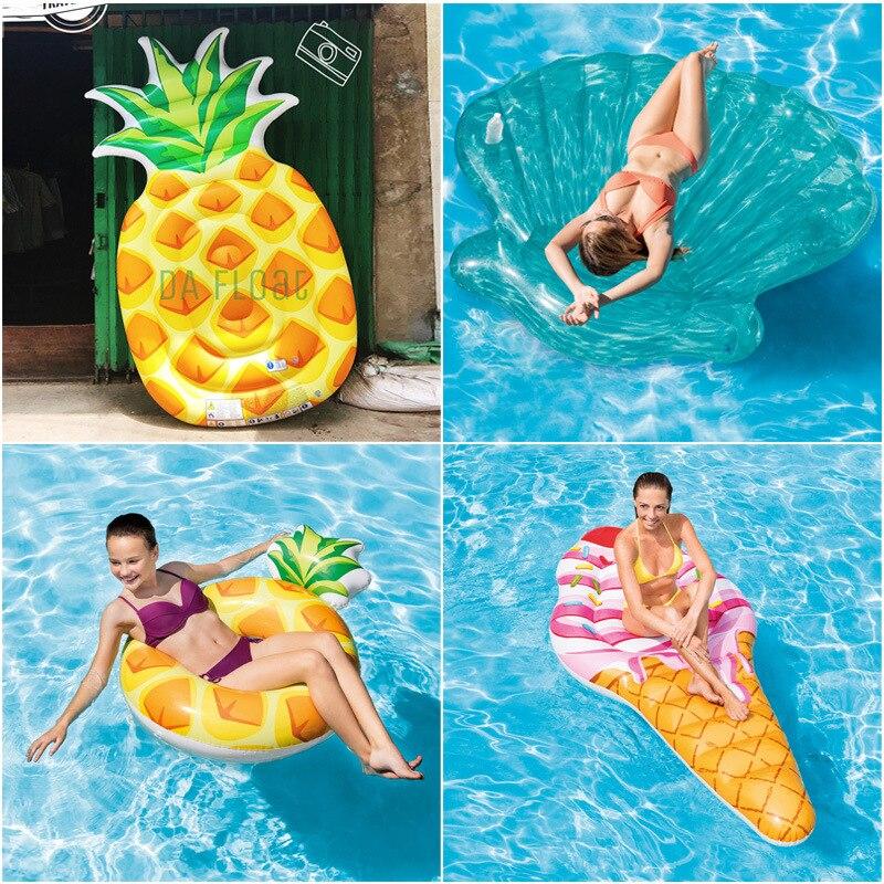 6 estilos mentira-Piscina flotador anillo flotador de agua colchón de aire inflable de cangrejo Pizza Shell helado piscina
