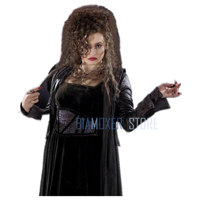 Biamoxer Filme Filme Caráter Bellatrix Lestrange Cosplay Perucas Longo Castanho Ondulado Resistente Ao Calor Peruca Cosplay